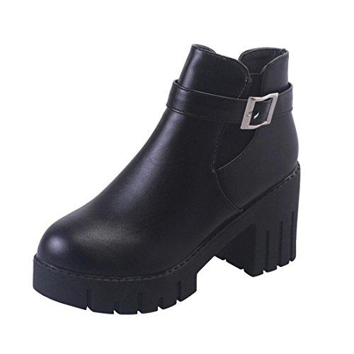 Women Shoes Ankle Boots Women Shoes High Heels Women Martin Shoes Womens False Boots Belt Buckle Platform Heel Square Black Casual Shoes LMMVP (39, Black)