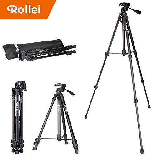 Rollei Compact Traveler Star S2 (ehemals DIGI 9300) - kompaktes Videostativ aus Aluminium, bis zu 3 kg Traglast, inkl. Stativkopf und Stativtasche - Schwarz