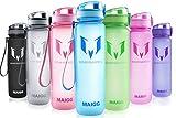 MAIGG Best Sports WasserFlasche Trinkflasche - 500ml & 1000ml - Eco Friendly & BPA-freiem Kunststoff - für das Laufen, Fitness, Yoga, Im Freien und Camping - Schnelle Wasserdurchfluss , Flip Top, öffnet sich mit 1-Click - Wiederverwendbare mit dicht schließendem Deckel (Blau, 1000ml-32oz)