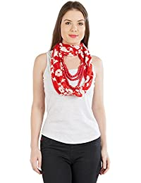 Vozaf Necklace Red Floral Harnesh floral reverse print 30X180 CMS Colour Red