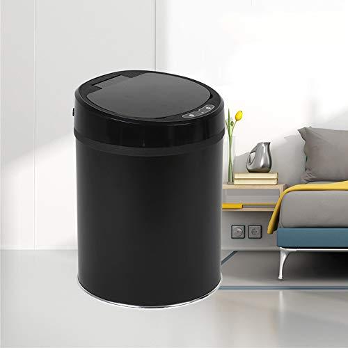 Dapang USB Edelstahl Automatische Mülleimer, Breite Öffnung Sensor Kitchen Trash Bin, Stromversorgung über USB (Geschenk) für Wohnzimmer Küche Badezimmer Büro,Black,8L -