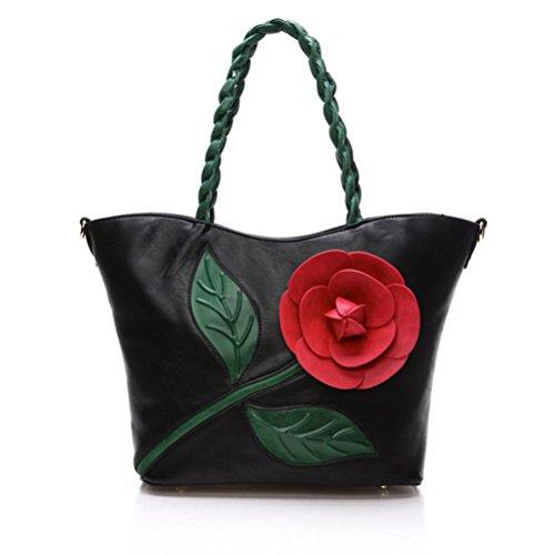 GBT Gewebte Handtasche Schultertasche Black
