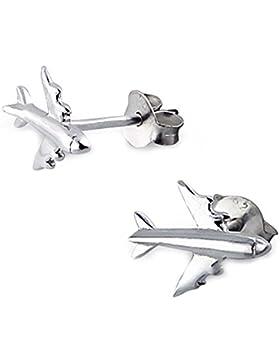 SL-Silver Ohrringe Ohrstecker Flugzeug 925 Sterling Silber
