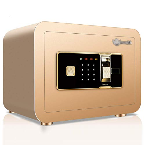 ACZZ Elektronischer digitaler Sicherheitsschließfach, 35X25X25Cm biometrischer Fingerabdruck-Ausgangsstahl-Safe, LED-Anzeige, für Büro-Hotel-Schmuck-Gewehr-Bargeld-Medikation, schwarz,Gold -