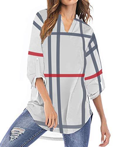 YOINS Camicia Donna Elegante Camicetta Donna Manica Lunga Bluse Camicie a Quadri Blusa Scollo V Casuale Scacchi Rosa EU36-38