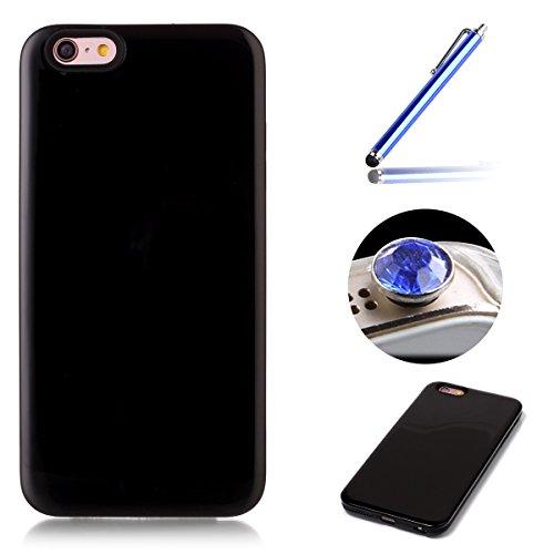 Etsue Custodia per iPhone 6 Plus/6S Plus 5.5,iPhone 6S Plus Cover Luxury,iPhone 6 Plus Custodia Disegno,2017 New Design Simplice Pure Color in TPU Inner Case+PC Shell Cover,Ultra Sottile Soft Gel Flex Nero