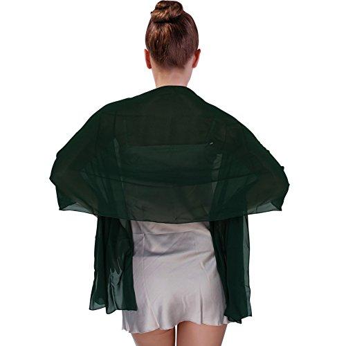 Capes Und Für Schals Frauen (FIODAY Damenschal Chiffon Stola Schal fuer Kleider Abendkleid 200cmx75cm, Dunkelgruen)
