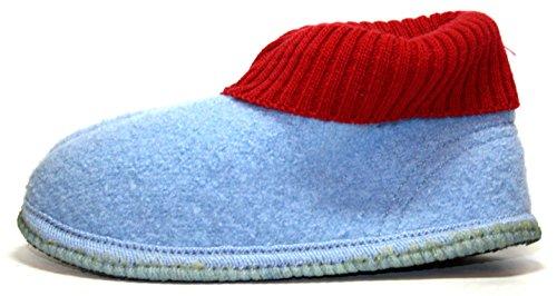 Walkstoff Jungen Mädchen Hausschuhe, Hüttenschuhe hellblau/rot hellblau-rot