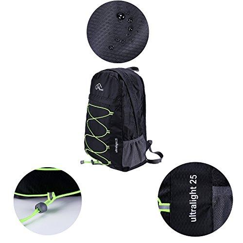 Rucksack,Faltbare Leichter Wasserdicht Freizeitreise Wandern Sport Rucksack schwarz