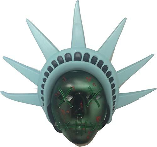 Purge Kostüm - The Rubber Plantation TM, Maske mit LED-Lichtern und befestigtem Stirnband in Form der Freiheitsstatue, für Festival- oder Halloween-Kostüme, Unisex, für Erwachsene, Einheitsgröße, Modell 619219304436