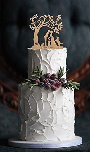 Braut-silhouette (Andrea1Oliver Familienhochzeitstorte Topper mit Childs und Hund Rustikale Cake Topper Silhouette Br?utigam und Braut personalisierte benutzerdefinierte Topper Hochzeit Dekorationen)
