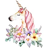 Fancyku Unicorn Flower Patches Cartoon Iron On Transfer Stickers Heat Thermal Transfers For T Shirt Clothes Fabric Badge Applique