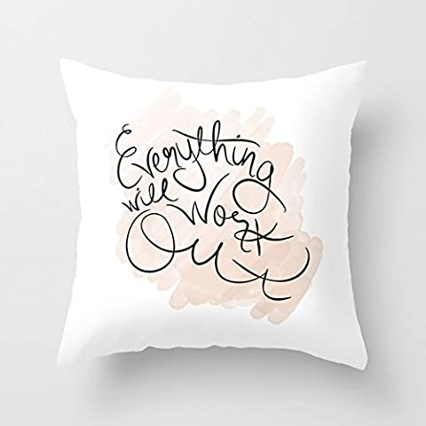 Citations oreillers Everything Will Work Out sur toile Accent oreillers Taie d