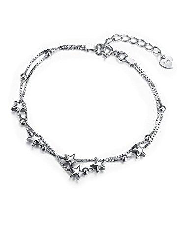 Pulseras mujer plata de ley 925 - estrella Regalo de la joyería para la niña Borong
