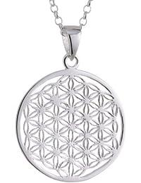 Vinani Anhänger Lebensblume Blume des Lebens Mandala klein mit Erbskette Sterling Silber 925 Kette Italien ALB-T