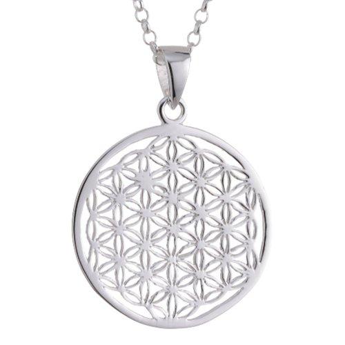 ensblume Blume des Lebens Mandala klein mit Erbskette 50 cm Sterling Silber 925 Kette Italien ALB-T50 ()