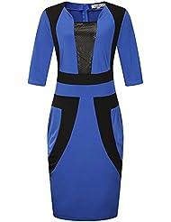 VB Falda grande tamaño medio cuello redondo manga hechizo Cintura de color