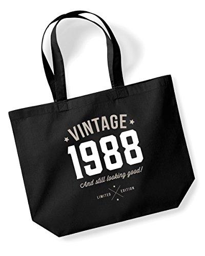 Geschenkidee für 30. Geburtstag, 1987Andenken, lustiges Geschenk, Geschenke für Frauen, Damen-Geschenke, Geburtstagsgeschenk für Frauen, Geschenk, für Damen, Einkaufstasche, Geschenk, Tasche, Tote-Bag, Textil, schwarz, L Tote-geschenk-taschen