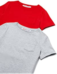 RED WAGON T-Shirt a Manica Corta con Taschino Bambino, Pacco da 2