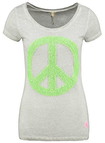 Key Largo Damen T-Shirt WT PEACE Stern Logo Zeichen Basic Glitzer Optik silber L (Kleid Safari Style)
