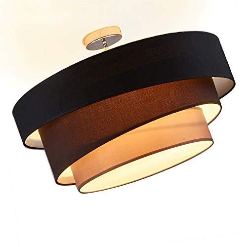 Retro Stoff Deckenlampe, Runde Vintage Schlafzimmerlampe, 3-Flammig Deckenleuchte, 3-Farbe Schirm...