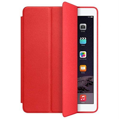 iPad Hülle,Binggong Luxus Ultra Slim Ledertasche Standplatzabdeckung für iPad 9.7 Zoll 2018 Tablet PC doppelseitige Schutz (9,7 Zoll, Rot) - Schützen Mini Den Bildschirm Des Ipad