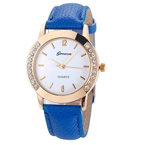 FITT Clearance Women Watch on Sale Fashion Diamond Diamond Analog Leather Leather Quartz Watches (Blu)