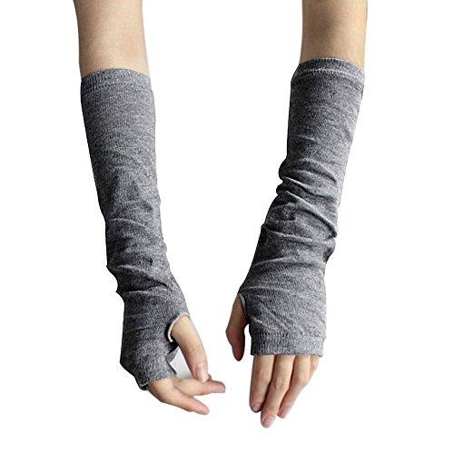 Winter Warm Fingerlose Handschuhe Armstulpen Strick Lang Pulswärmer Handwärmer Stulpen Grau