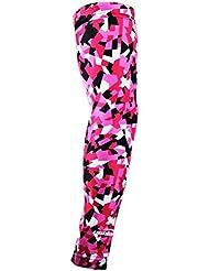 COOLOMG (de una pieza) de la conciencia del cáncer de pecho de los hombres del brazo de protección UV mujeres de la manga de compresión Running 3D Rosa Negro Pequeñas