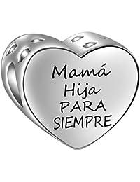 9bfbb5bcb33 SIMPORDS Abalorio Charm Corazón Mano a Mano para Mujer Regalo Hija