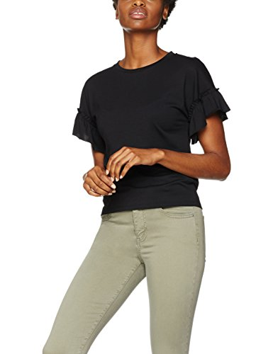 find-frill-sleeve-t-shirt-donna-nero-black-xx-large