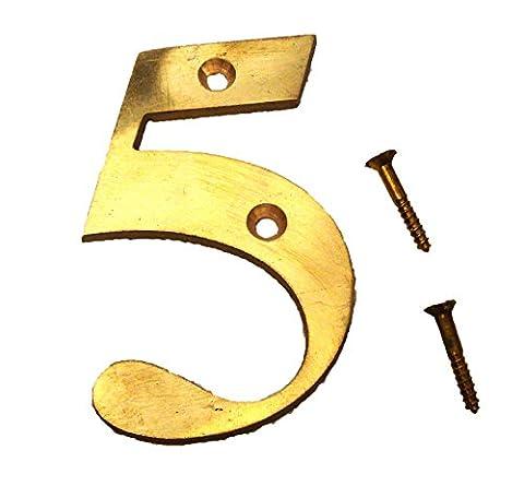 5numéros de laiton–7,6cm–fois romain–Maison Panneau de porte–Nombre - Ottone 3 Pollici Casa Numero