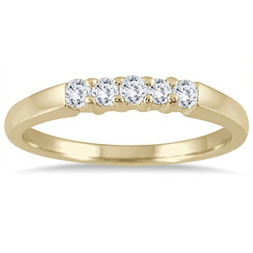 1-4-carat-five-stone-diamond-wedding-band-in-10k-yellow-gold