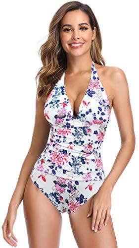 SHEKINI Damen Einteiliger Bikini Blumenmuster Badeanzug Tief V-Ausschinitt Bauchweg Raffung Monokini Große Größe (Large, Blumen-Weiß)