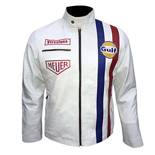 Leder-Spot Herren, Damen Le Mans Steve McQueen Grand Prix Gulf Schaffell Leder Weiße Jacke-2xl