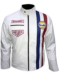 Leather-Spot Men, Women Le Mans Giacca Steve McQueen Grand Prix Gulf in Pelle Bianca