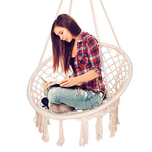 Lanseyqo - amaca a dondolo in macramè, in corda di cotone sospesa, seduta in tessuto bohémien, decorazione per la casa, max 100 kg