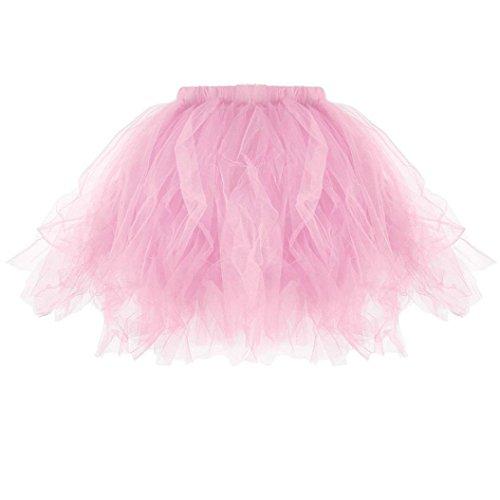 Damen Kleid, VJGOAL Erwachsene Frauen Mädchen Hohe Qualität Plissee Tutu Ballett Party Dance Performance Cosplay Gefaltete Mini Röcke Geschenke (Einheitsgröße, Rosa) (Kleid Plissee Hose)