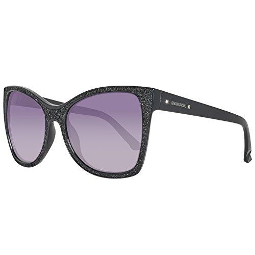 Swarovski sk0109-561, occhiali da sole donna, nero (shiny black/gradient smoke), 56