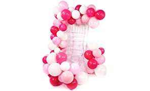 PuTwo Rose Blanc Ballon, 100pcs 12 Pouces Rose Pale Ballon Baudruche Fuchsia Magenta Ballons Latex pour Kit Anniversaire Ballerine, Decoration 16 Ans, Deco Baby Shower Fille, Barbie Happy Birthday