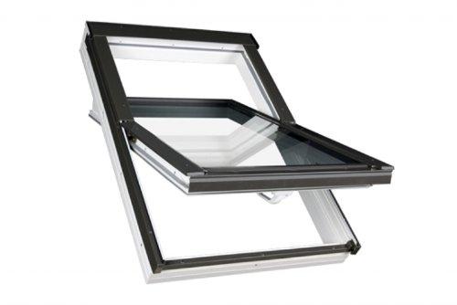 66 x 140 - FAKRO Dachfenster Kunststofffenster PTP - Schwingfenster PTP U3 mit EDR für Dachziegel
