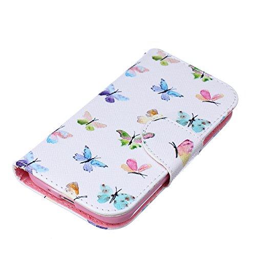 iPhone 6S Plus Hülle, iPhone 6 Plus PU Leder Hülle Tasche Handyhülle, iPhone 6S Plus Ledertasche im Bookstyle Brieftasche Flip Case mit Silikon Backcase, SainCat Premium Design Luxus Schutz Bumper Wei Bunte Schmetterlinge