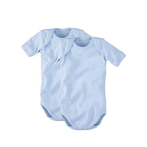 wellyou, 2er Set Kinder Baby-Body Kurzarm-Body, hell-blau weiß gestreift, geringelt, Feinripp 100{3d37048977a76f9764b8a81613028372c7921d5342e578cf75598e14a5f03735} Baumwolle, Größe 56 - 62