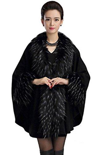 PLAER Femmes Mode Faux de fourrure de Fox cape Bat manches cape cardigan Tricoter châle cape Noir
