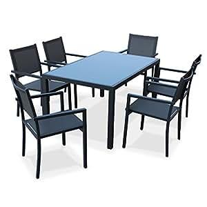 Alice's Garden - Salon de jardin en aluminium et textilène - Capua - Anthracite, gris - 6 places - 1 grande table rectangulaire, 6 fauteuils empilables