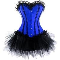 zanuce da donna Lace Up Satin corsetto Mini Tutu Gonna Outfit Costume del partito
