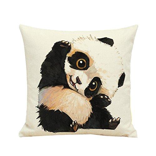 Oyfel Taies d'oreiller Housse Coussins Panda Beige Une Fermeture Eclair en Microfibre Voiture Office Canapé Couleur Lavable Deco Beceau Salo