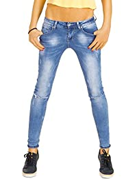 Bestyledberlin Damen Röhrenjeans, Ripped Knee Jeans eng, Used Look Skinny Fit Denim Hosen j53f