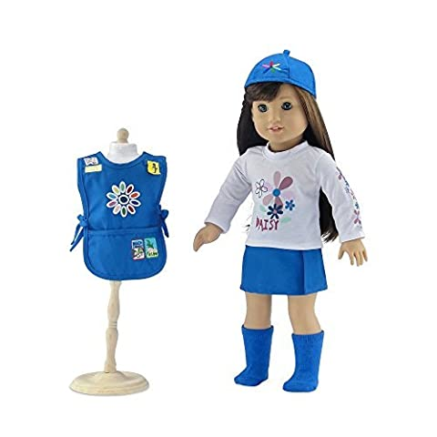 18 Inch Doll Clothes | Daisy Girl Scout-Inspired Outfit, Includes Blue Skirt, LS White T-Shirt with Daisy Print, Blue Tunic with Embroidered Patches, Matching Hat and Socks | Fits American Girl Dolls by Emily Rose Doll Clothes