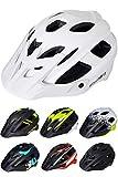 Skullcap® Fahrradhelm matt weiß ♦ Schutzhelm ♦ Mountainbike Helm Erwachsene ♦ Herren & Damen ♦ 3 Designs ✚ Visier/Helmschild, weiß matt, Größe L (58-61 cm)